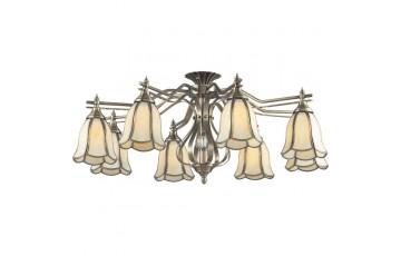 662-08-52 Потолочная люстра на штанге N-Light antique brass+tiffany