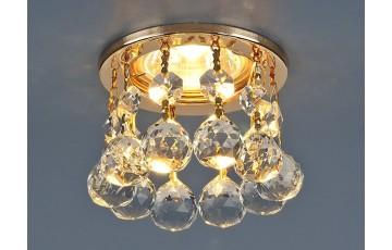 2051 MR16 GD/CL Встраиваемый светильник Elektrostandard с хрусталем золото/прозрачный