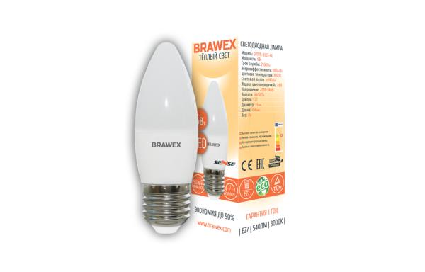 0707E-B35S-6L Светодиодная лампа BRAWEX SENSE свеча 6Вт 3000К B35 Е27