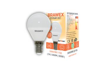 2007B-G45S-6L Светодиодная лампа BRAWEX SENSE шар 6Вт 3000К G45 Е14