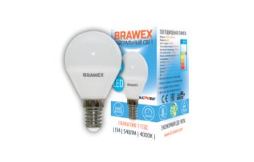 2007B-G45S-6N Светодиодная лампа BRAWEX SENSE шар 6Вт 4000К G45 Е14