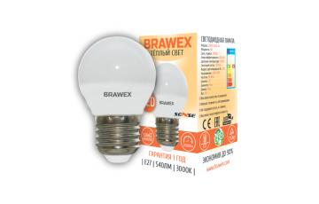 2007A-G45S-7L Светодиодная лампа BRAWEX SENSE шар 7Вт 3000К G45 Е27