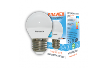2007A-G45S-7N Светодиодная лампа BRAWEX SENSE шар 7Вт 4000К G45 Е27