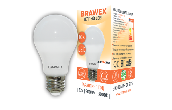 0307D-A60S-10L Светодиодная лампа BRAWEX SENSE 10Вт 3000К А60 Е27