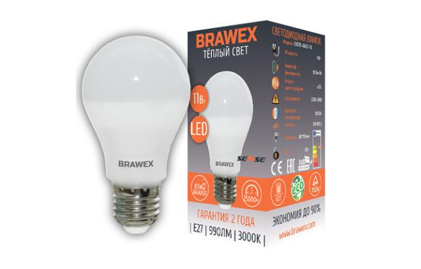 0307D-A60S-11L Светодиодная лампа BRAWEX SENSE 11Вт 3000К А60 Е27