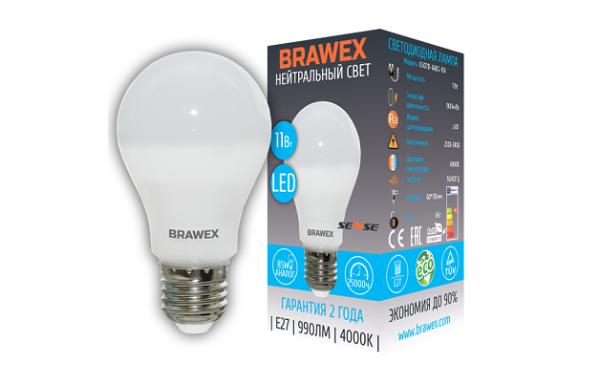 0307D-A60S-11N Светодиодная лампа BRAWEX SENSE 11Вт 4000К А60 Е27