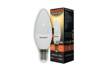 0707G-B35-6L Светодиодная лампа BRAWEX свеча 6Вт 3000К B35 Е14