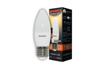 0707E-B35-6L Светодиодная лампа BRAWEX свеча 6Вт 3000К B35 Е27