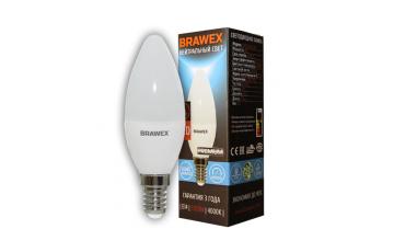 0707E-B35-6N Светодиодная лампа BRAWEX свеча 6Вт 4000К B35 Е27