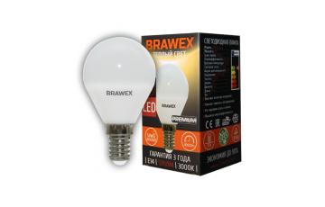 2007B-G45-6L Светодиодная лампа BRAWEX шар 6Вт 3000К G45 Е14