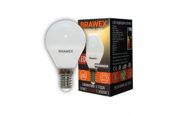 2007B-G45-7L Светодиодная лампа BRAWEX шар 7Вт 3000К G45 Е14