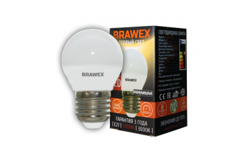 2007A-G45-6L Светодиодная лампа BRAWEX шар 6Вт 3000К G45 Е27