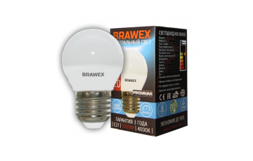 2007A-G45-6L Светодиодная лампа BRAWEX шар 6Вт 4000К G45 Е27