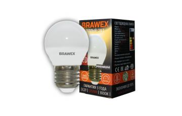 2007A-G45-7L Светодиодная лампа BRAWEX шар 7Вт 3000К G45 Е27