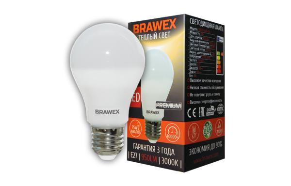 0307D-A60-10L Светодиодная лампа BRAWEX 10Вт 3000К А60 Е27