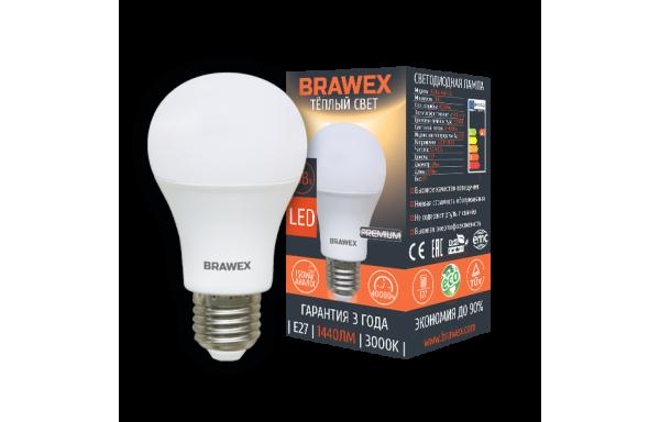 0314G-A60-13L Светодиодная лампа BRAWEX 16Вт 3000К А60 Е27