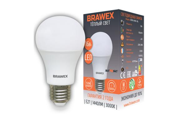 0314G-A60-16L Светодиодная лампа BRAWEX SENSE 16Вт 3000К А60 Е27