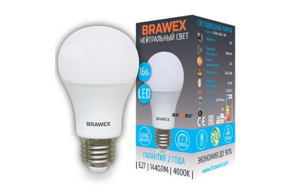 0314G-A60-16N Светодиодная лампа BRAWEX SENSE 16Вт 4000К А60 Е27