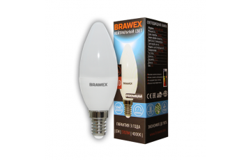0707G-B35-7N Лампа светодиодная B35 7W 220-240V 4000K E14 IC Brawex