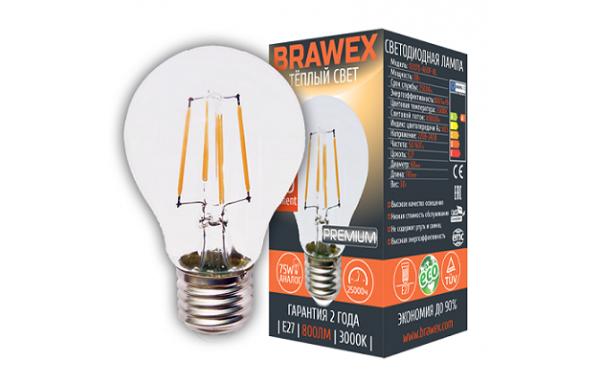 0307D-A60F-8L Лампа светодиодная A60  8W 220-240V 3000K E27 IC Brawex