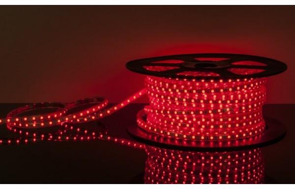 100м, Лента светодиодная 220V 4,4W  IP65 красный 60Led 3528